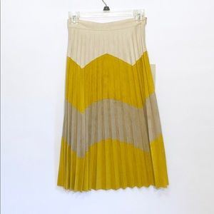 Zara Faux Suede Long Pleated Skirt Tri Color